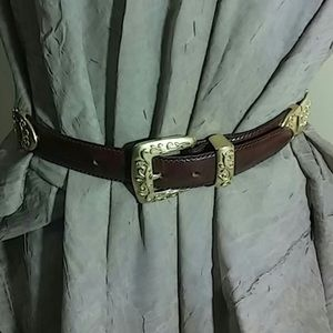 Fossil Gold And Brown Leather Belt